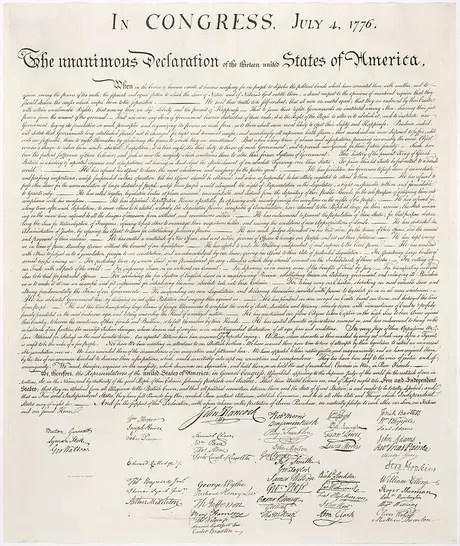 <p>A Declaração da Independência dos Estados Unidos</p>