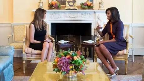 A futura primeira-dama e a atual se reuniram na Casa Branca depois da divulgação dos resultados da eleição americana