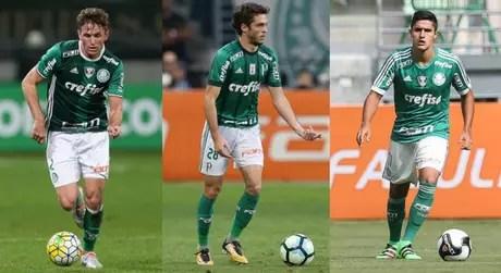 Fabiano, Hyoran e Thiago Martins - Fotos: Agência Palmeiras