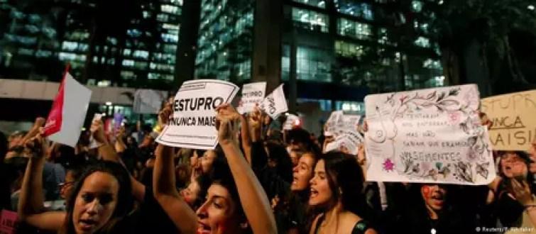 Protesto contra violência contra a mulher em São Paulo, em 2016