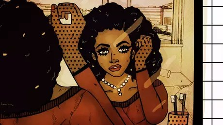 Ilustração de uma mulher se maqueando
