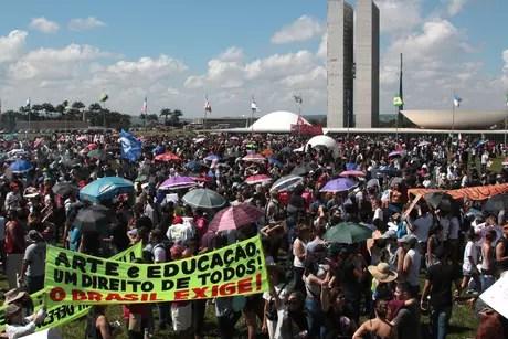 Ato em Brasília, em frente à Esplanada dos Ministérios