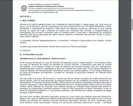 Trecho da decisão da ação trabalhista contra o Restaurante Recanto da XV