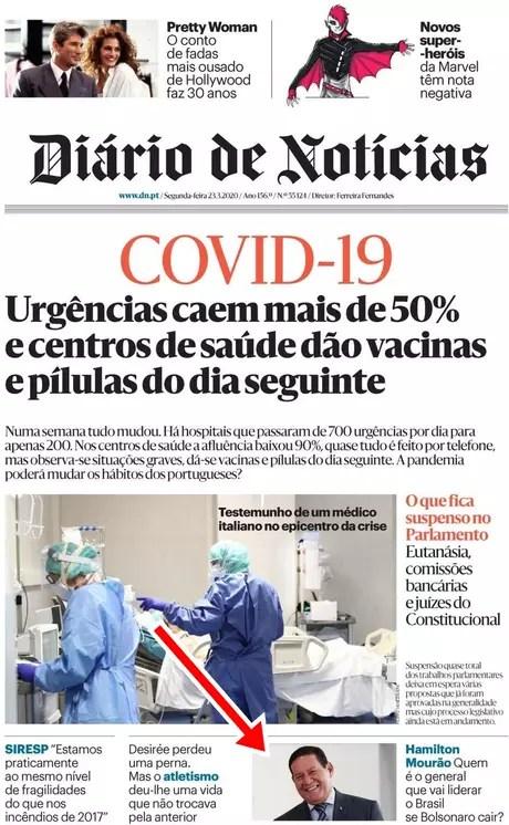 Hamilton Mourão ganhou espaço na primeira página do Diário de Notícias