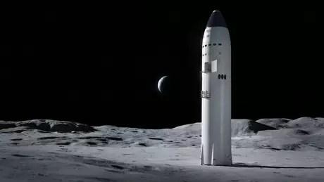 Ilustración del aterrizaje en la luna: Starship compite para llevar astronautas a la luna
