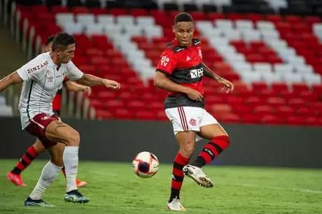 O zagueiro Natan fez sua despedida no Fla-Flu pelo Campeonato Carioca (Foto: Alexandre Vidal/Flamengo)