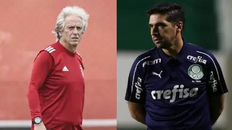 Jorge Jesus e Abel Ferreira fizeram história comandando clubes brasileiros (Montagem Lance! Fotos: Divulgação / Benfica / Site oficial; Cesar Greco / Palmeiras)