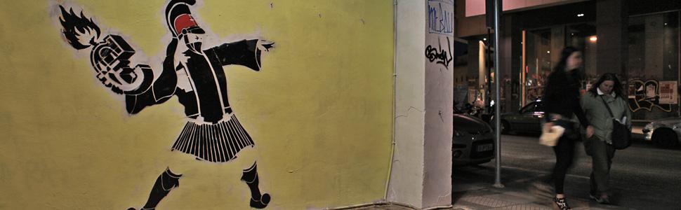 Det er mye politisk graffiti i Athens gater - rettet mot de greske myndighetene og EU. (Foto: Nareas Sae-Khow/NRK)