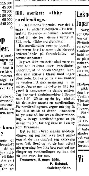 Artikkel i Nordlands Avis, 15. mars 1960. (Foto: Najsonalbiblioteket)