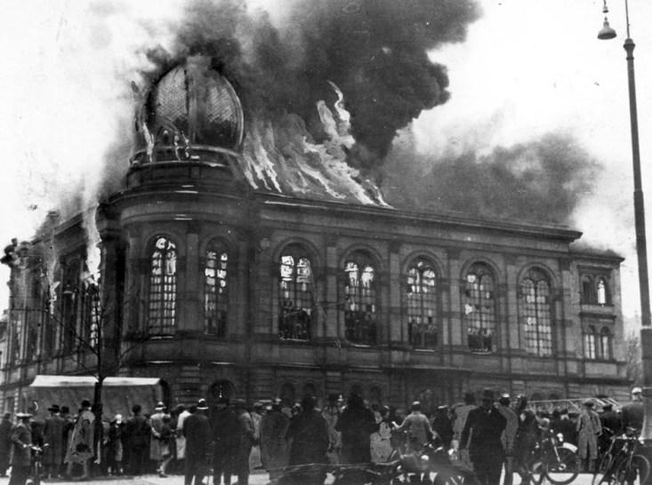 Brennende synagoge, 1938