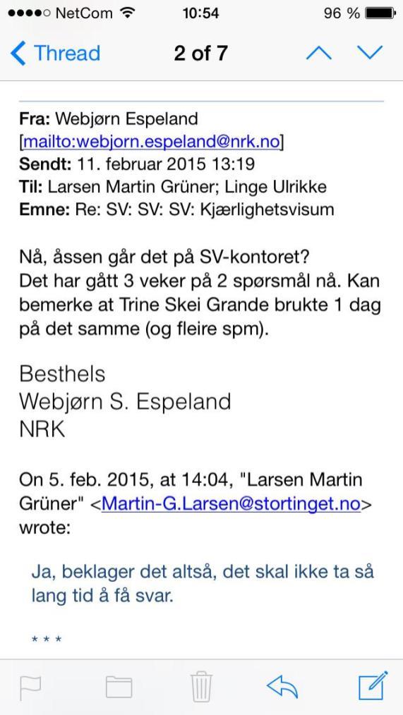 Webjørn purrer på svar fra SV og Bård Vegard Solhjell.
