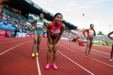Ezinne Okparaebo etter 100 meter for kvinner under Bislett Games 2015 på Bislett stadion. (Foto: Vegard Wivestad Grøtt / NTB scanpix)