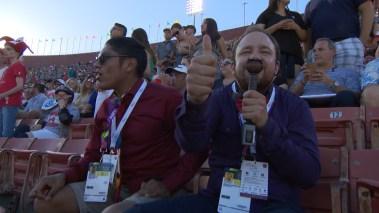 Mats Sollid (30) og Erling Due Bergseth (26) dekket OL for utviklingshemmede i Los Angeles i sommer. (Foto: NRK)