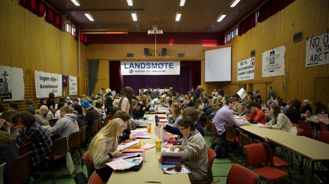 Natur og Ungdom hadde sitt landsmøte for 2016 i Fredrikstad, 7.–10. januar. (Foto: Anne Dorte Lunås, NRK)