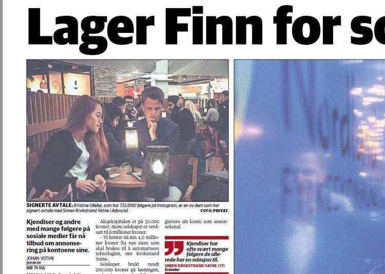 Avisen Nordland skrev 5.januar 2016 at Kristine Ullebø hadde signert avtale med Simen Vatne.