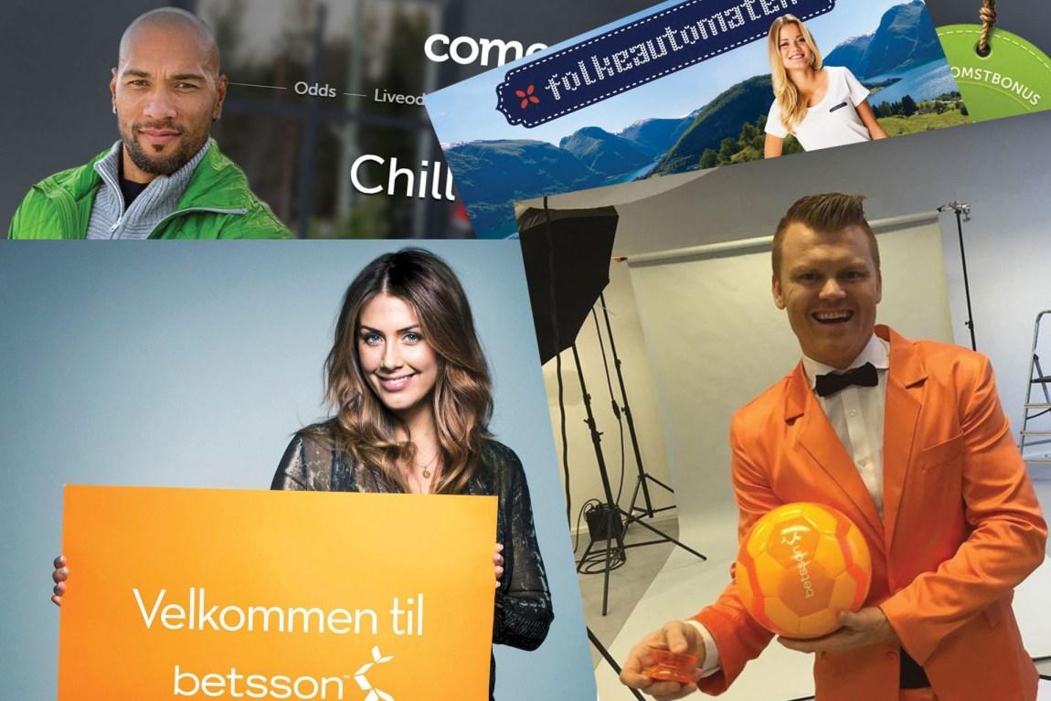 Tone Damli, Sandra Lyng, John Carew og John Arne Riise er bare noen av kjendisene som har promotert for nettpengespill. Hver time sendes det 62 pengespillreklamer på norske TV-skjermer. Foto: Faksimile