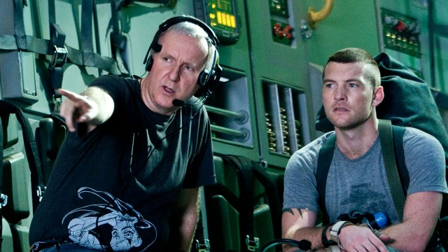 James Cameron og Sam Worthington under innspillingen av Avatar. (Foto: 20th Century Fox)
