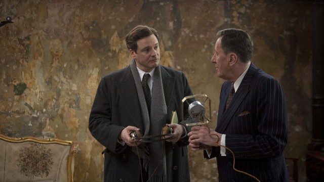 Colin Firth og Geoffrey Rush i Kongens tale. (Foto: SF Norge)