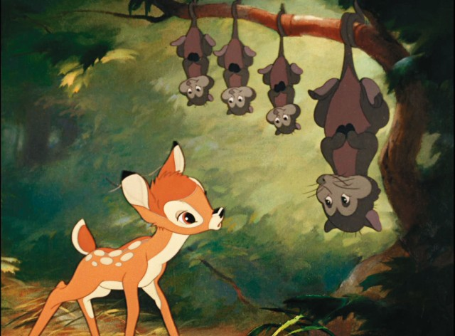 Bambi oppdager pungrottene. (Foto: Walt Disney Studios Home Entertainment)