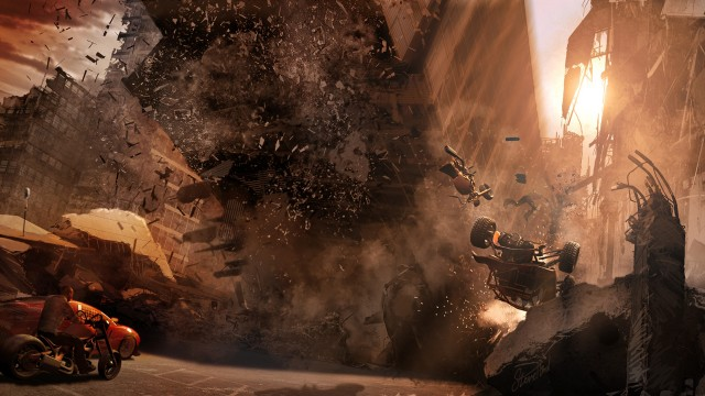 Bygninger raser i MotorStorm Apocalypse. (Foto: Sony Computer Entertainment Europe)