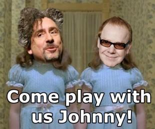 Ønsketekning: Regissør Tim Burton og komponist Danny Elfman spør Johnny Depp om han kan komme ut og leke.