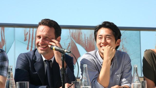 Andrew Lincoln og Steven Yeun, hhv. Sheriff Rick Grimes og hans reddende engel Glenn. (Foto: NRK p3)