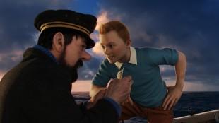 Kaptein Haddock og Tintin til vanns i Tintin - Enhjørningens hemmelighet (Foto: The Walt Disney Company Nordic).