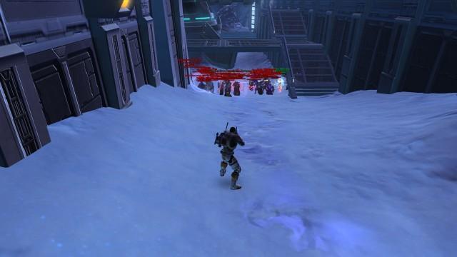 Meg Vs. en horde sinte Imperials. Dette er til tider en realitet på PVP-planeten Ilum. (Foto: Lucas Arts/ EA Games)