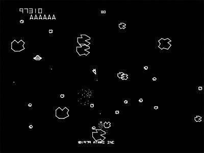 Skjermbilde fra «Asteroids». (Foto: Atari)
