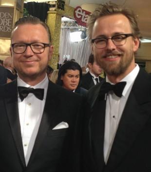 Espen Sandberg og Joachim Rønning på Golden Globe-utdelingen. (Foto: Anders Tvegård/NRK)