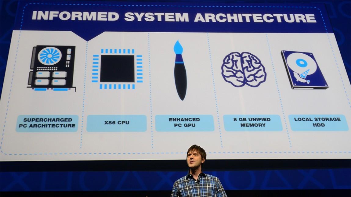 Systemarkitekt Mark Cerny forteller om PlayStation 4 på Sonys pressekonferanse 20. februar, 2013 i New York.  (Foto: AFP PHOTO/EMMANUEL DUNAND)