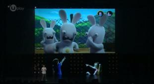 Skjermbilde fra presentasjonen av «Rabbids Invasion» på Ubisoft sin pressekonferanse på E3 2013.