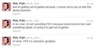 Faksimile fra Phil Fish' Twitter-konto. Klikk for større bilde. (Foto: Twitter.com)