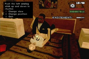 Det kontroversielle «Hot Coffee»-minispillet i «GTA: San Andreas» lot spillerne styre hovedfiiguren Carl mens han hadde sex. (Foto: Rockstar Games)