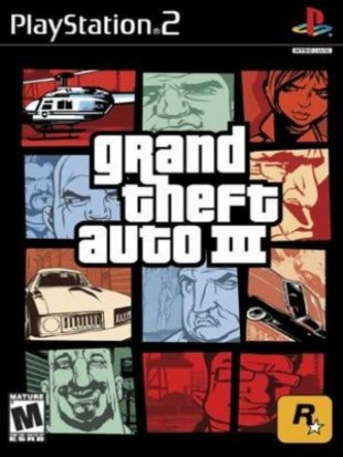 Nederst til høyre på coveret til «GTA III» ser du den amerikanske aldersmerkingen M, tilsvarende en europeisk 18-årsgrense. Utviklerne ba selv om å få høyeste aldersvurdering på spillet sitt, med en tydelig mål om å unngå at mindreårige spilte «GTA III». (Foto: DMA Design / Rockstar)