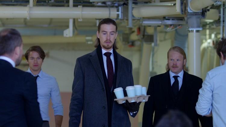 Jakob Oftebro, Pål Sverre Hagen og Anders Baasmo Christiansen i Kraftidioten (Foto: Nordisk Film Distribusjon AS).