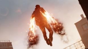 En av de mange kreftene Delsin blir kjent med som energibærer er evnen til å sveve som Iron Man. Promobilde fra «Infamous: Second Son». (Foto: Sucker Punch Productions)