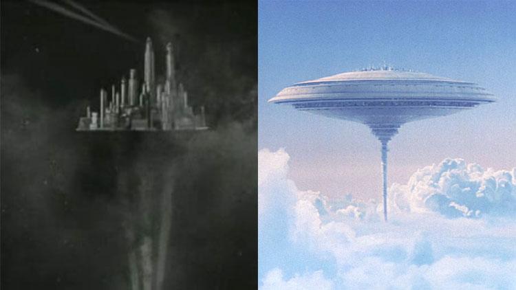 Sky City i Flash Gordon til venstre, og Cloud City fra Imperiet slår tilbake til høyre. (Foto: Universal Pictures, Twentieth Century Fox).