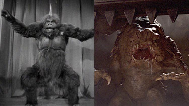 Orangopoid-monsteret fra Flash Gordon anno 1936 til venstre, og Jabbas rancor fra Jediridderen vender tilbake fra 1983 til høyre.  (Foto: Universal Pictures, Twentieth Century Fox).