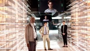 Johnny Depp, Morgan Freeman, Rebecca Hall og Cillian Murphy i den stjernespekkede fimlen Transcendence. (Foto: Nordisk Film Distribusjon AS).