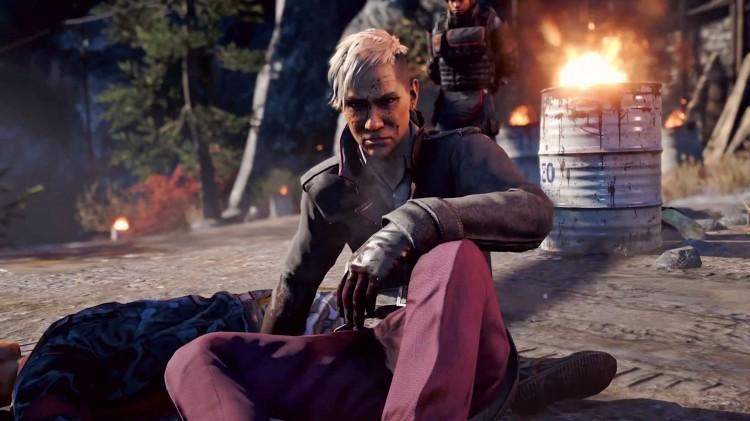 Hovedskurken i Far Cry 4, King Pagan Min, er misfornøyd fordi han fikk blod på skoene sine. (Foto: Ubisoft).