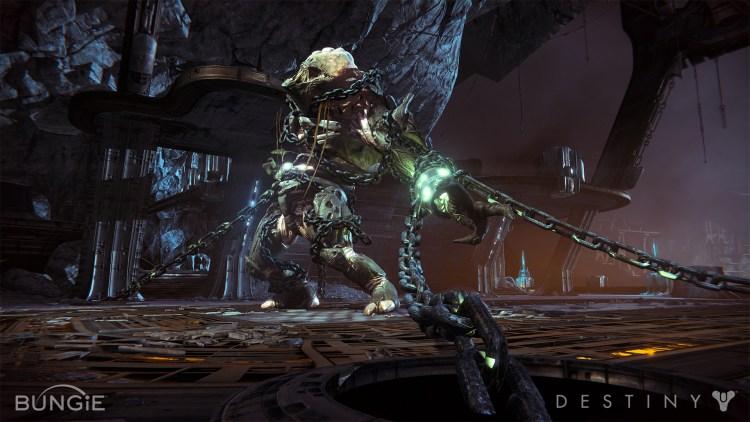 Mens de vanlige fiendene ofte repeteres er hovedmotstandere («boss», journ.anm.) ofte imponerende og skremmende. Promofoto fra «Destiny». (Foto: Bungie)