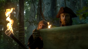 Odd-Magnus Williamson sjekker kartet i Kaptein Sabeltann og skatten i Lama Rama (Foto: Storm Films).