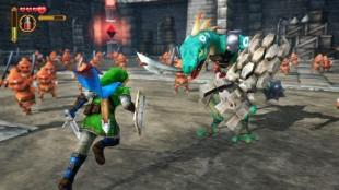 99% av fiendene i spillet er små undersåtter, som dem i bakgrunnen i dette bildet. Skjermbilde fra «Hyrule Warriors». (Promofoto: Nintendo / Koei Tecmo)
