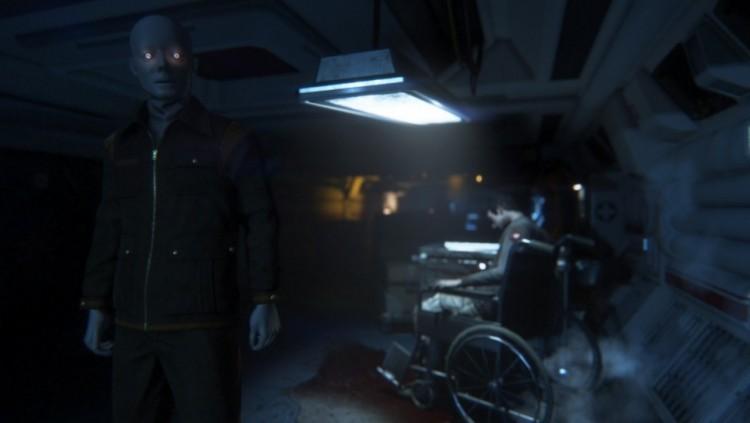Romvesenet er ikke den eneste faren du møter på Sevastopol. Andre mennesker gjør alt de kan for å overleve, mens androidene ombord reagerer fiendtlig. Disse kan i motsetning til Xenomorf-vesenet overvinnes. Skjermbilde fra «Alien: Isolation». (Promofoto: The Creative Assembly / SEGA)