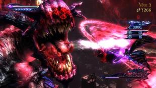 Selv i de mest kaotiske kampene er opplevelsen av fokus tilstede i «Bayonetta 2». Skjermbilde fra spillet. (Foto: Nintendo / Platinum Games)