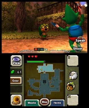 I løpet av spillets fortelling kan du samle masker som gir Link ulike egenskaper og forskjellig utseende. Skjermbilde fra «The Legend of Zelda: Majora's Mask 3D». (Foto: Nintendo)