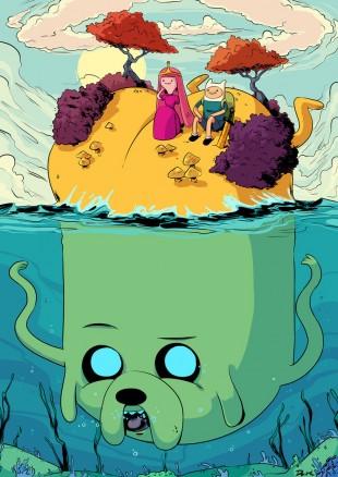 Surrealisme og absurd humor er noen av ingrediensene som kjennetegner serien. Promoplakat for «Adventure Time». (Foto: Cartoon Network)