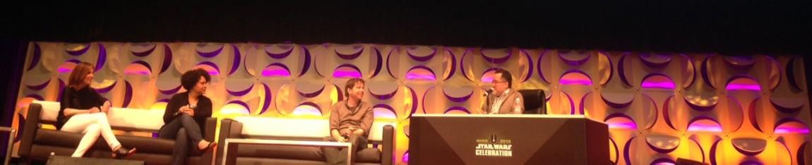 Regissøren bak «Star Wars: Rogue One», Gareth Edwards (nummer tre fra venstre), pratet om arbeidet på filmen og viste frem konseptvideoer på Star Wars Celebration-festivalen i Anaheim, California. (Foto: StarWars.com)