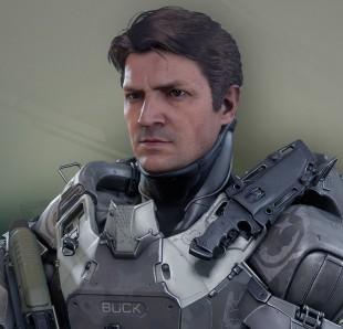 Skuespiller Nathan Fillion (kjent fra blant annet «Firefly») spiller Buck på Fireteam Osiris i «Halo 5: Guardians». (Foto: Microsoft / 343 Industries)